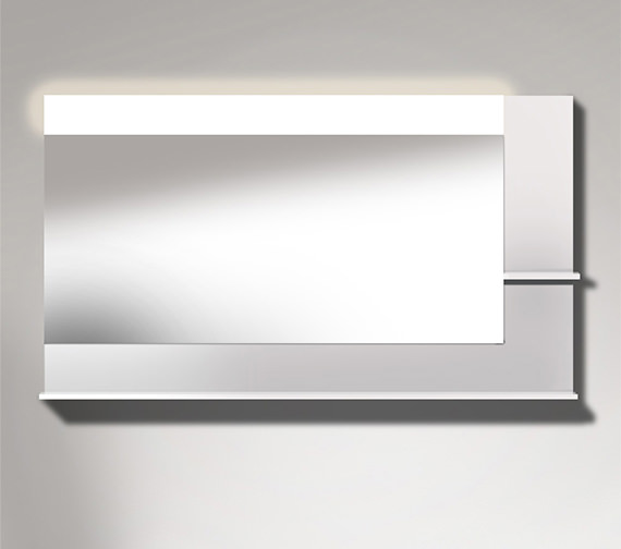 Duravit Vero 1400mm Mirror With Light And Shelves to Right Side And Below