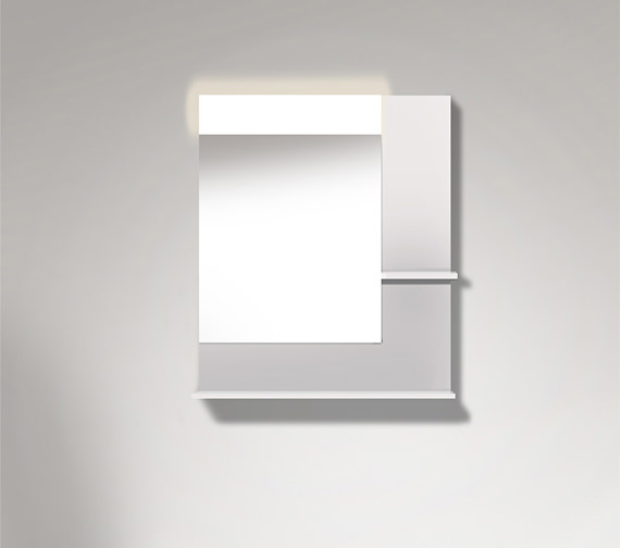Duravit Vero 800mm Mirror With Light And Shelves to Right Side And Below