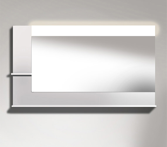 Duravit Vero 1400mm Mirror With Light And Shelves to Left Side And Below