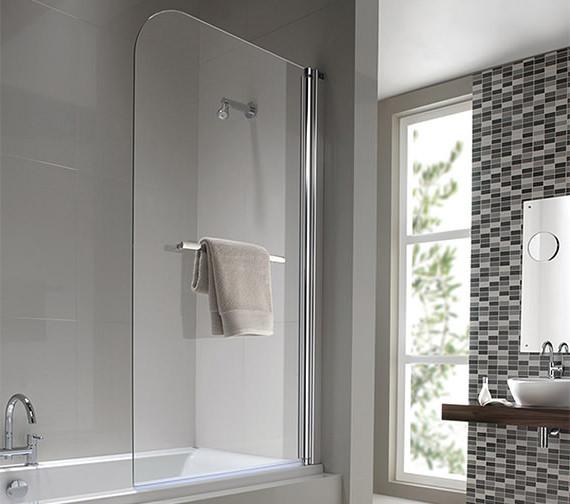 Twyford Geo6 Single Panel Right Handed Bath Screen 1500 x 850mm