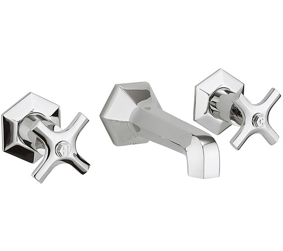 Crosswater Waldorf Crosshead 3 Hole Wall Mounted Basin Mixer Tap Set