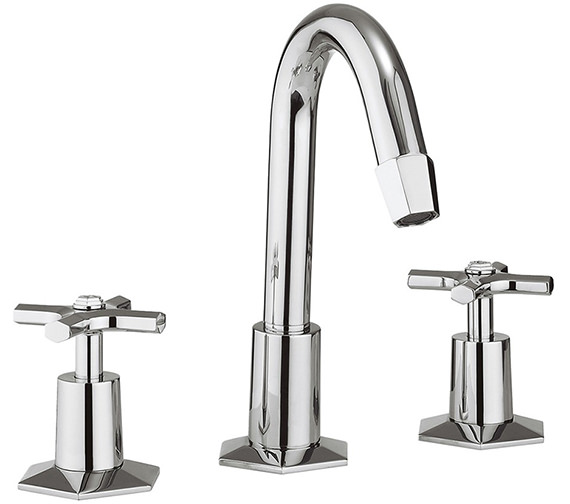 Crosswater Waldorf Crosshead 3 Hole Deck Mounted Basin Mixer Tap With Waste