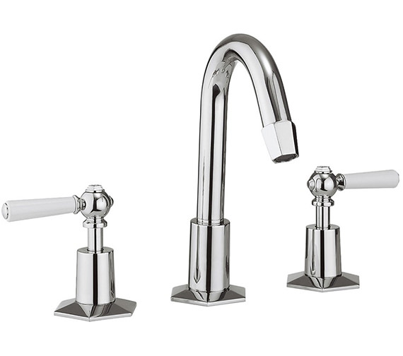 Crosswater Waldorf White Lever 3 Hole Deck Mount Basin Mixer Tap With Waste