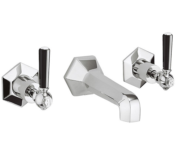 Crosswater Waldorf Black Lever 3 Hole Wall Mounted Basin Mixer Tap Set