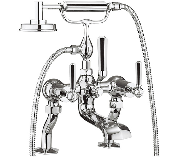 Crosswater Waldorf Chrome Lever Deck Mounted Bath Shower Mixer Tap With Kit