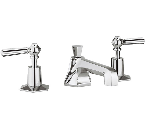 Crosswater Waldorf Chrome Lever 3 Hole Deck Mounted Basin Mixer Tap Set