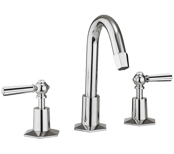 Crosswater Waldorf Chrome Lever 3 Hole Deck Mount Basin Mixer Tap With Waste