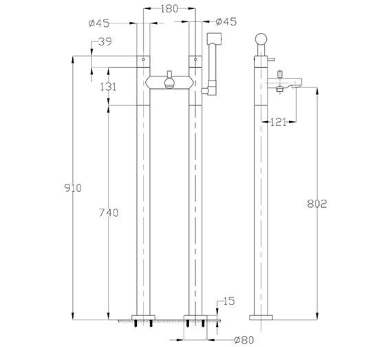 Technical drawing QS-V38338 / KL422DC