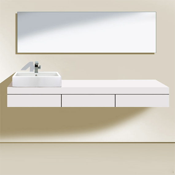 Duravit Fogo 1500 x 550mm Left Cut-Out Console With 3 Drawer - FO852801818