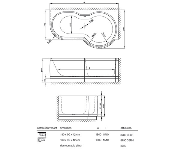Technical drawing QS-V41169 / BETTE 8790CERH