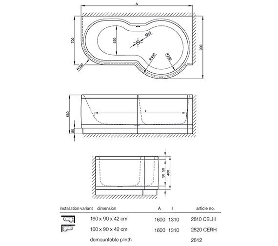 Technical drawing QS-V41167 / BETTE 2810CELH  BETTE 2820CERH