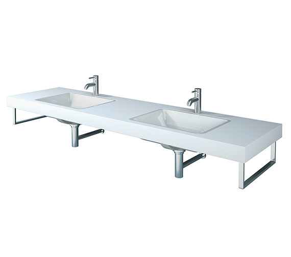 Duravit Fogo 800 x 550mm White Matt 2 Cut Out Console For Inset Basins