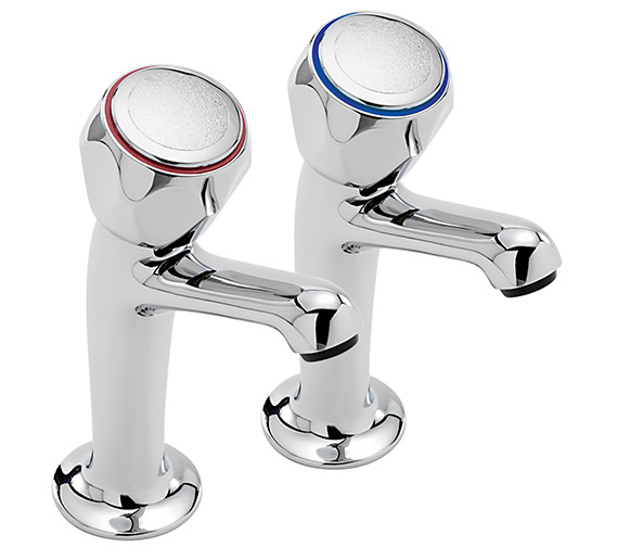 Sagittarius Contract Pair Of High Neck Kitchen Pillar Taps