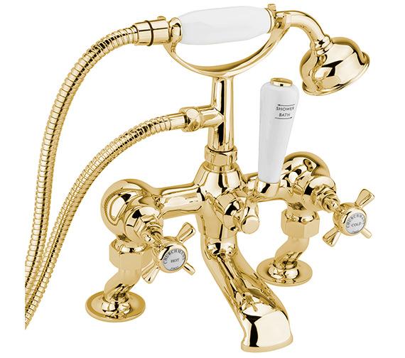 Sagittarius Churchmans Deluxe Deck Bath Shower Mixer Tap With Kit Gold
