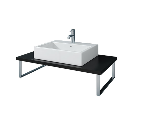 Duravit Vero 800mm Black High Gloss 1 Cut Out Console With LED - VE098C04040