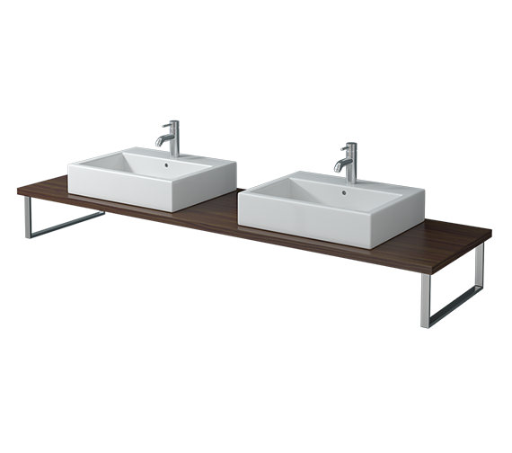 Duravit Vero 800mm American Walnut 2 Cut Out Console With LED - VE099C01313