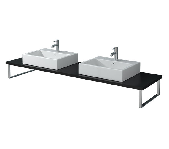 Duravit Vero 800mm Black High Gloss 2 Cut Out Console With LED - VE099C04040
