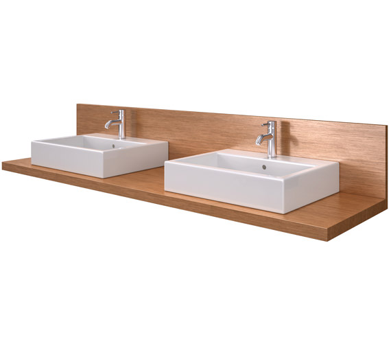 Duravit Delos 800 x 565mm 2 Cut Out Console With Back Panel - Brushed Oak