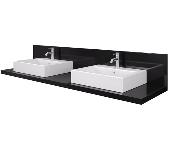 Duravit Delos 2 Cut Out Console With Back Panel - Black High Gloss