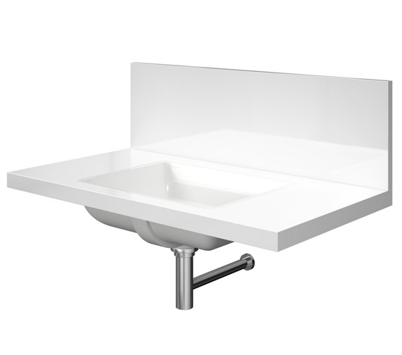 Duravit Delos 1 Cut Out Back Panel Console For Inset Basin - White High Gloss