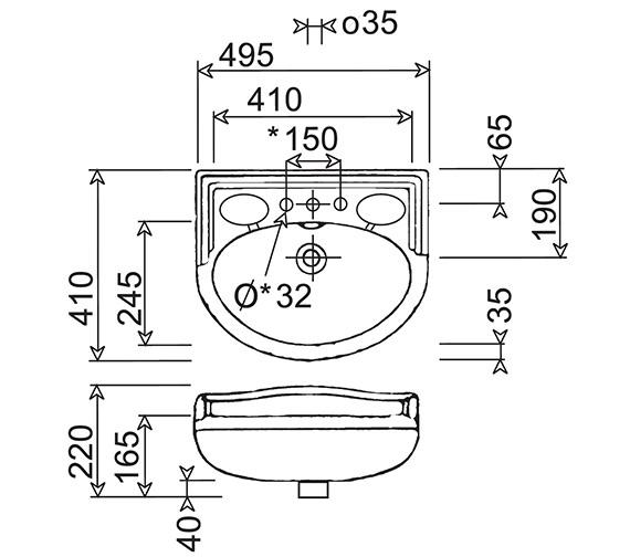 Technical drawing QS-V24729 / NSBAS49GWHIBL