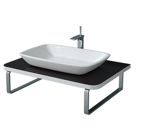 Duravit Puravida 800 x 550mm Black High Gloss Back To Wall Console - PV071C