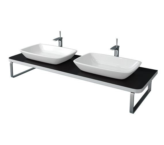 Duravit Puravida 800 x 550mm Black High Gloss BTW 2 Cut-Out Console - PV072C