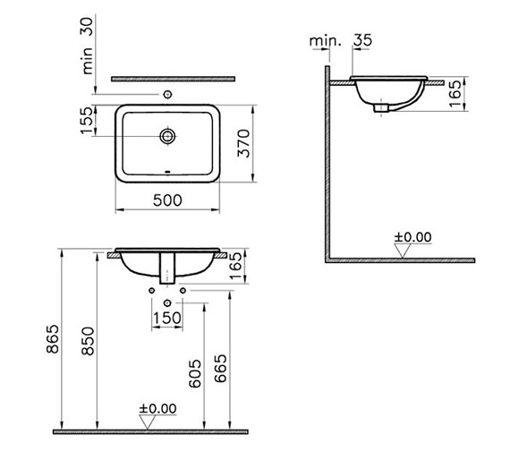 Additional image of VitrA S20 Countertop Basin 450mm - 500mm Size Available
