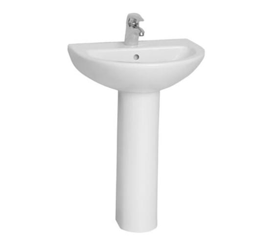 VitrA Layton 1TH Washbasin 55cm With Full Pedestal - 5272L003-0999