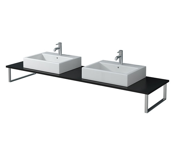 Duravit X-Large 800 x 550mm Black High Gloss 2 Cut Out Console - XL045C04040