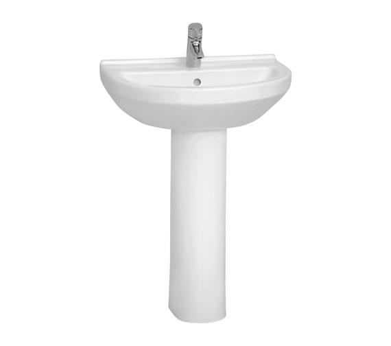 VitrA S50 Round Washbasin 60cm With Full Pedestal - 5302L003-0999