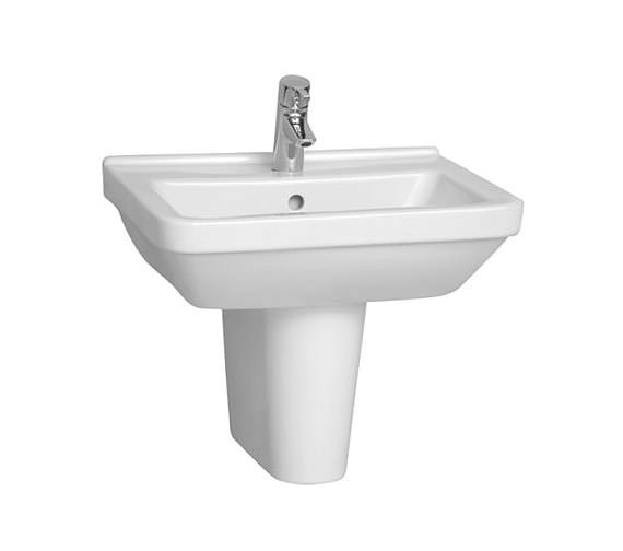 VitrA S50 Square Washbasin 55cm With Full Pedestal - 5309L003-0999