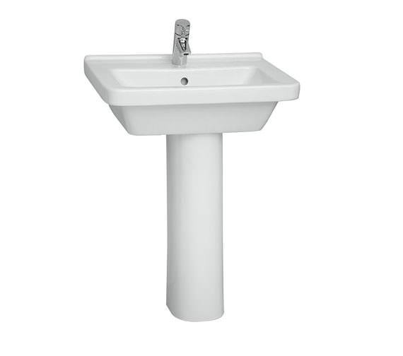 Additional image of VitrA S50 Square Washbasin 55cm With Full Pedestal - 5309L003-0999