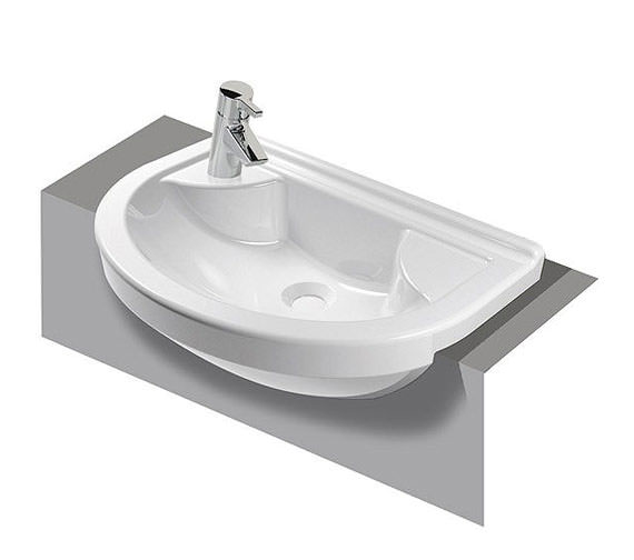 VitrA S50 Round Compact 550mm 1 Tap Hole Semi Recessed Basin - Left
