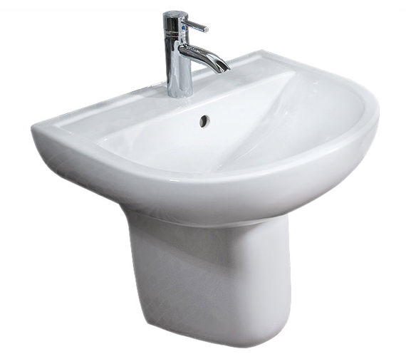 RAK Compact 1 Tap Hole Basin With Semi Pedestal 550mm - COM55BAS1