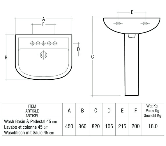 Technical drawing QS-V36348 / Rak Ceramics - QS-V36348