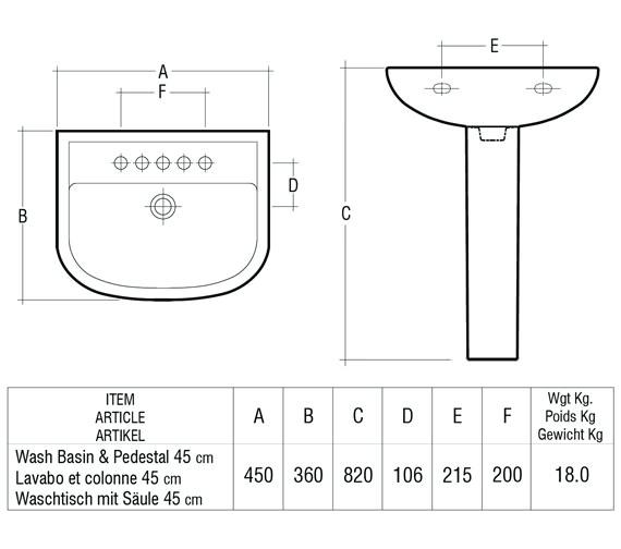 Technical drawing QS-V36348 / Rak Ceramics - QS-V36348