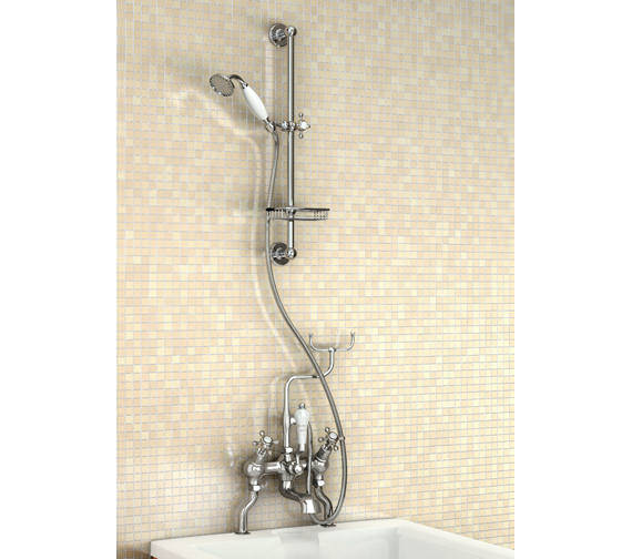 Burlington Angled Deck Mounted Bath Shower Mixer With Slide Rail And Soap Basket
