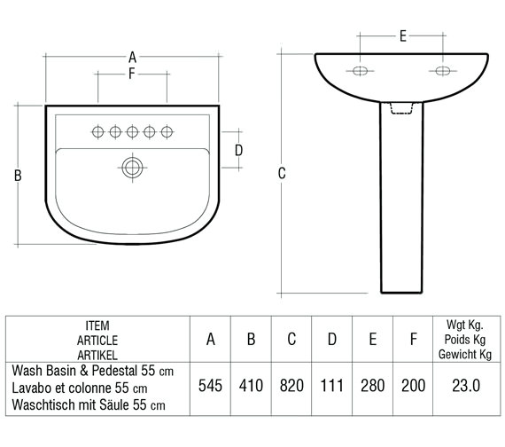 Technical drawing QS-V36349 / Rak Ceramics - QS-V36349