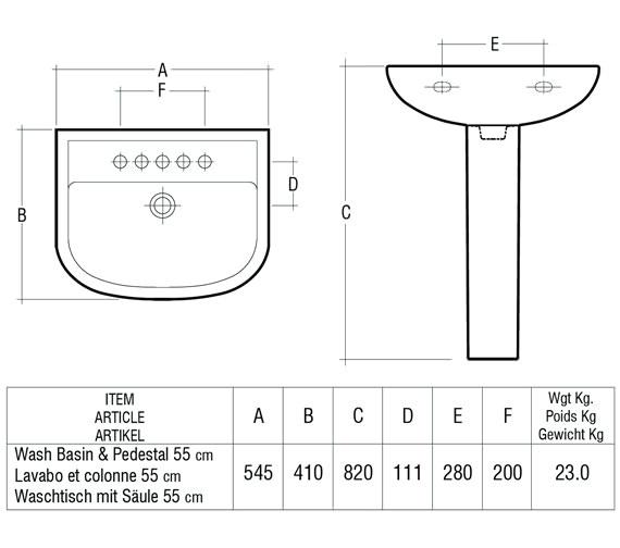Technical drawing QS-V36349 / Rak Ceramics - QS-V36349