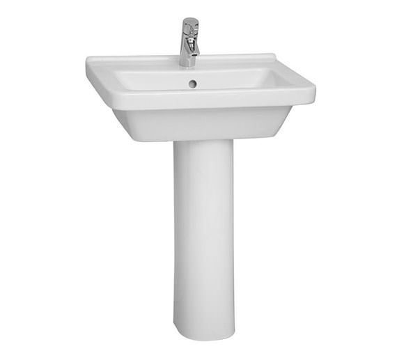 Additional image of VitrA S50 Square Washbasin 60cm With Full Pedestal - 5310L003-0999