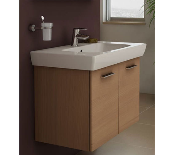 VitrA S20 650 x 460mm Vanity Unit And Basin Dark Cherry Tree