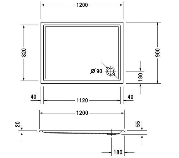 Additional image of Duravit Starck 1200mm Wide Slimline Shower Tray