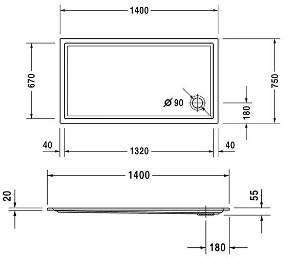 Additional image of Duravit Starck 1400mm Slimline Shower Tray