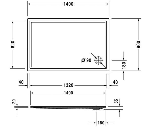 Alternate image of Duravit Starck 1400mm Slimline Shower Tray