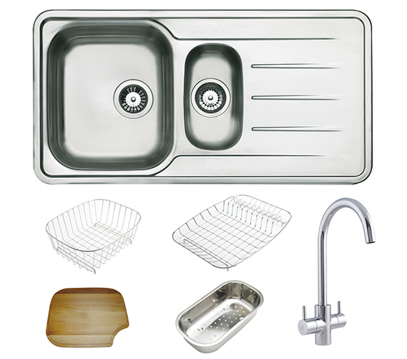 Astracast Topaz 1.5 Bowl Polished Stainless Steel Inset Sink And Tap Pack