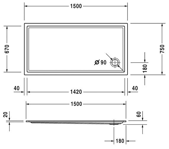 Additional image of Duravit Starck 1500mm Wide Slimline Shower Tray