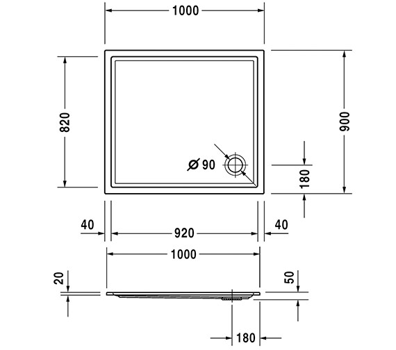 Additional image of Duravit Starck Slimline 1000mm Length Shower Tray