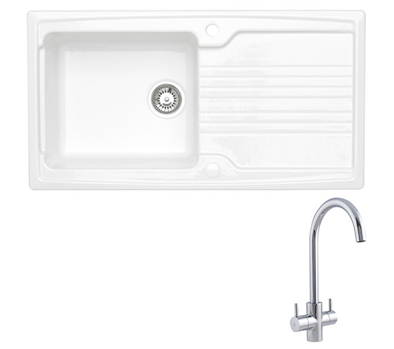 Astracast Equinox 1.0 Bowl Ceramic White Inset Sink And Tap Pack