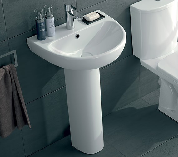 Additional image of Twyford E100 Round 550 x 440mm 1 Tap Hole Washbasin With Full Pedestal